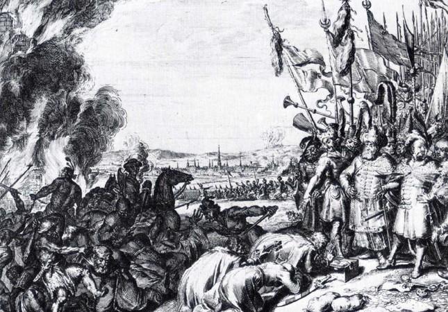A drawing of Merzifonlu Kara Mustafa Pasha leading the Ottoman army.