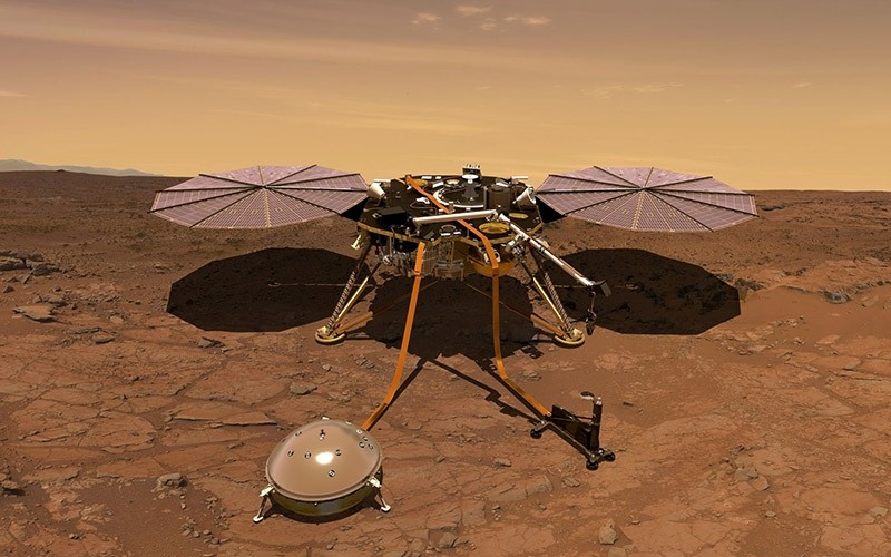 The Mars InSight probe is shown in this artist's rendition operating on the surface of Mars, due to lift off from Vandenberg Air Force Base, California, U.S. on May 5, 2018 in this image obtained on May 3, 2018. (Reuters Photo)