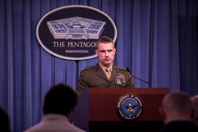 Pentagon spokesman Maj. Adrian Rankine-Galloway receives a question at a press conference at the US Department of Defense in Washington D.C., on June 6, 2018. (AA Photo)
