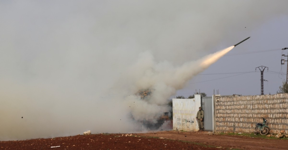 Turkish soldiers fire a missile at Syrian regime position in the province of Idlib, Syria, Friday, Feb. 14, 2020. (AP Photo)