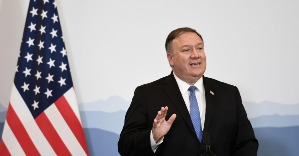 US Secretary of State Mike Pompeo attends a press conference at the Castelgrande closing a bilateral meeting with Swiss counterpart on June 2, 2019 in Bellinzona, southern Switzerland (AFP Photo)