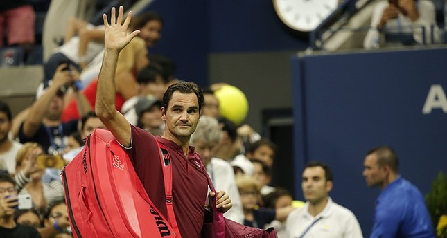 Roger Federer waves to fans before leaving the court for the last time at the U.S. Open in New York on Sept. 4, 2018. (AA Photo)