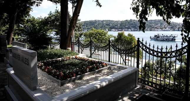 A grave overlooking the Bosporus at the Aşiyan cemetery where the fee for a burial plot stands at TL 30,000.