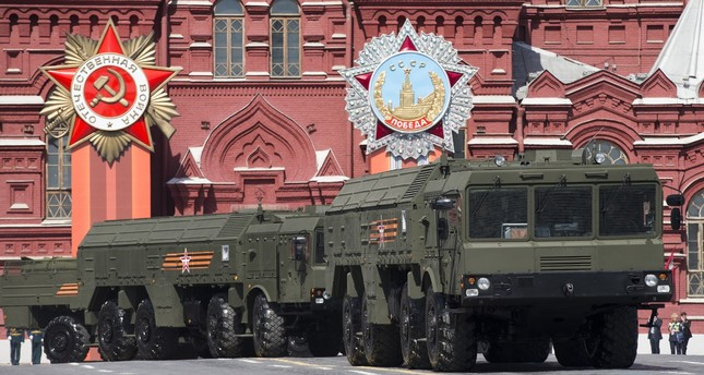 Iskander missile launchers are driven during the Victory Parade marking the 70th anniversary of the defeat of the Nazis in World War II, in Red Square in Moscow. (AP Photo)