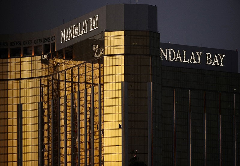 Windows are broken at the Mandalay Bay resort and casino, Tuesday, Oct. 3, 2017, in Las Vegas. (AP Photo)