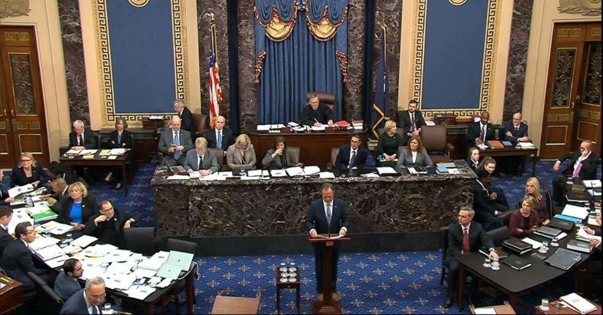 In this image from video, impeachment manager Rep. Adam Schiff, D-Calif., argues in favor of amendment regarding selective admission of evidence and handling of classified material that was offered by Senate Minority Leader Chuck Schumer, D-N.Y., during the impeachment trial against President Donald Trump in the Senate at the U.S. Capitol in Washington, Tuesday, Jan. 21, 2020. (Senate Television via AP)