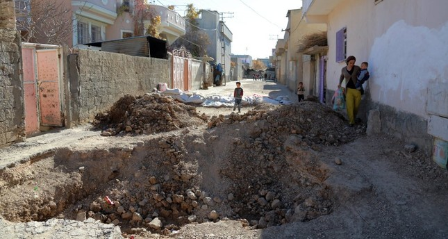 PKK terrorists dug scores of ditches and erected as many barricades in the southeast by using heavy equipment provided by HDP authorities. A big ditch in Nusaybin, Mardin is seen in the photo.