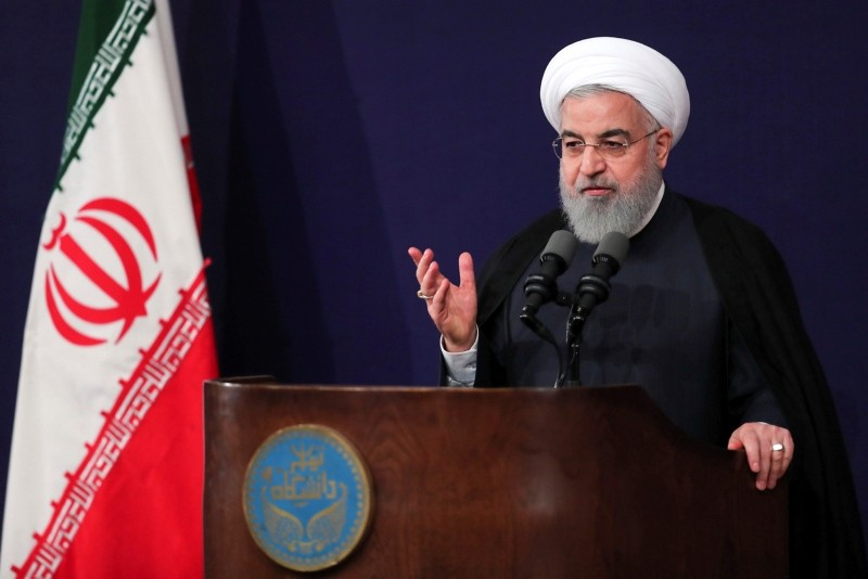 Iran's President Hassan Rouhani speaks in a ceremony to mark the start of the Iranian academic year at Tehran University, Iran, Oct. 14, 2018.