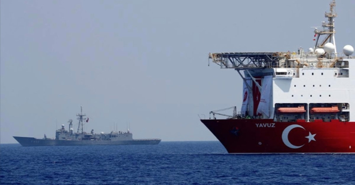 Drilling vessel Yavuz is escorted by Turkish navy frigate TCG Gemlik (f-492) in the eastern Mediterranean off Cyprus, Aug. 6, 2019.