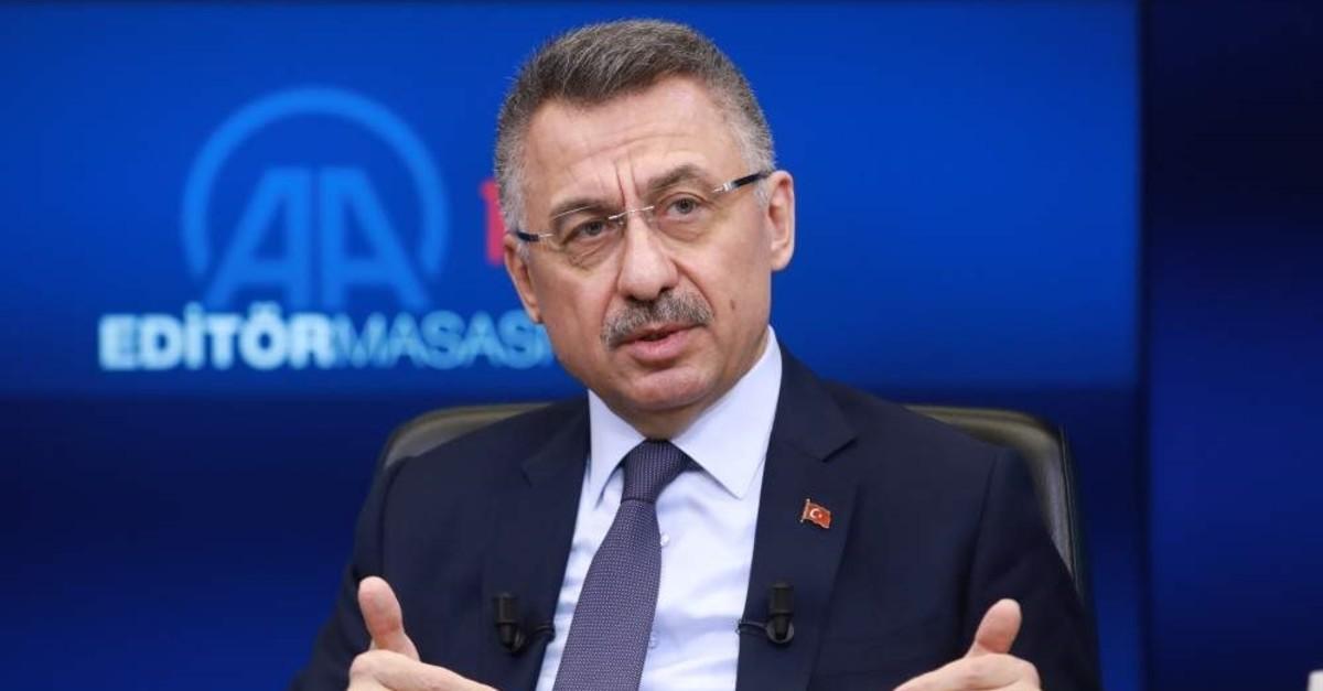 Turkey's Vice President Fuat Oktay answers questions at Anadolu Agency's Editors' Desk, Jan.1, 2020. (AA PHOTO)