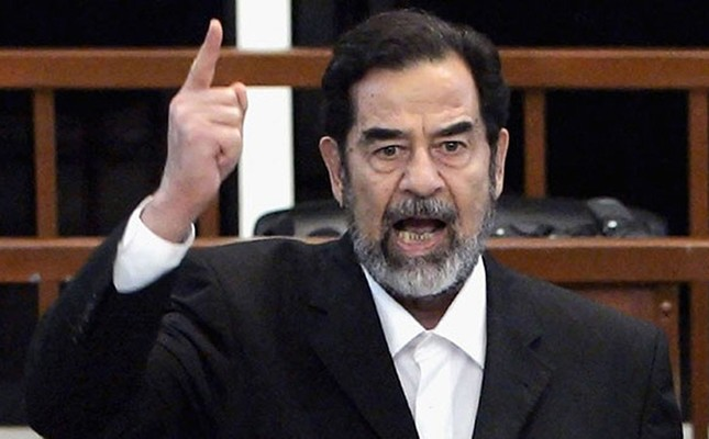 Saddam Hussein, Iraq's former president, delivers a speech during his trial. (File Photo)