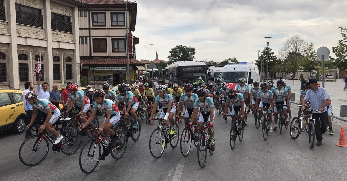 Cyclists leave Konya in central Turkey, July 13, 2019.