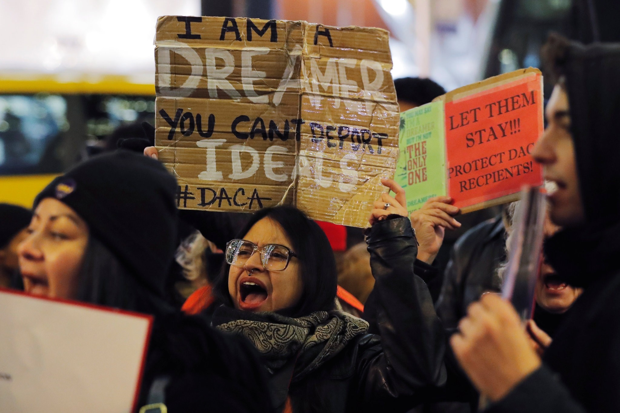 Deferred Action for Childhood Arrivals (DACA) recipient Gloria Mendoza participates in a demonstration in support of ,clean, legislation in New York, U.S., January 10, 2018. Picture taken January 10, 2018. (REUTERS Photo)