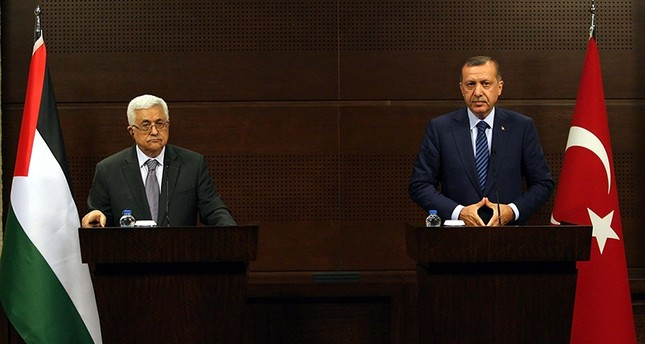 President Recep Tayyip Erdoğan (R) at a joint news conference with Palestinian President Mahmoud Abbas, Ankara, Turkey, June 24, 2011.