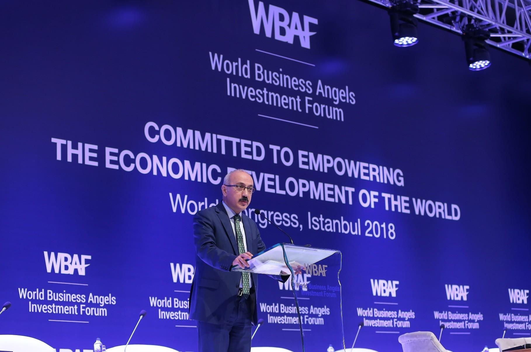 Development Minister Elvan speaks at the World Business Angels Investment Forum, Istanbul, Feb. 19.