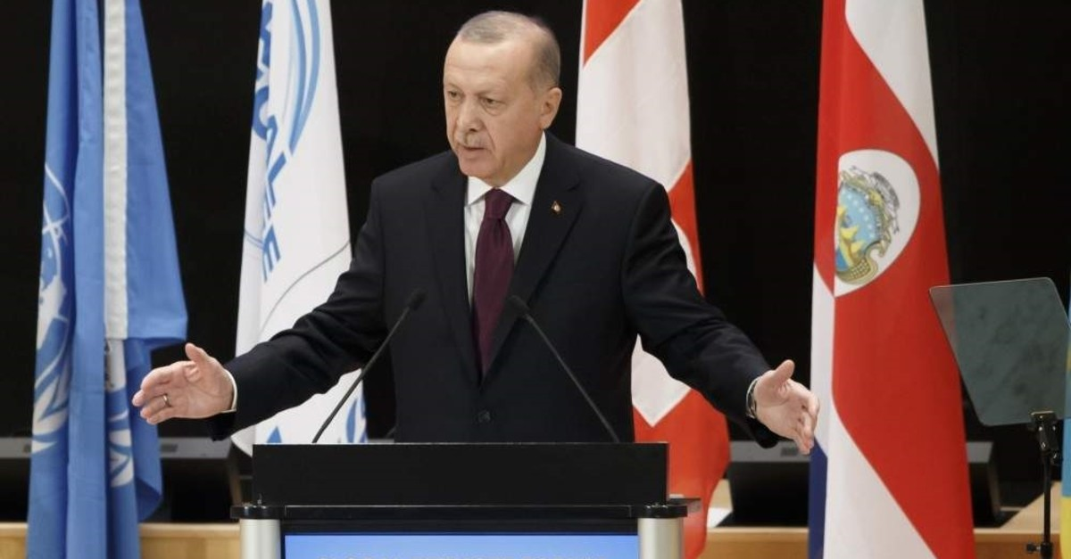 President Recep Tayyip Erdo?an delivers his statement during the United Nations High Commissioner for Refugees (UNHCR) Global Refugee Forum at the European headquarters of the United Nations in Geneva, Dec.17, 2019.  (EPA)