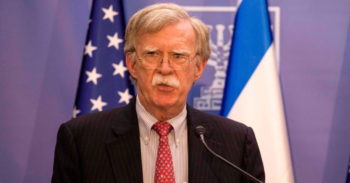 US National Security Advisor John Bolton gives a press conference with the Israeli prime minister (unseen) in Jerusalem on June 23, 2019. (AFP Photo)