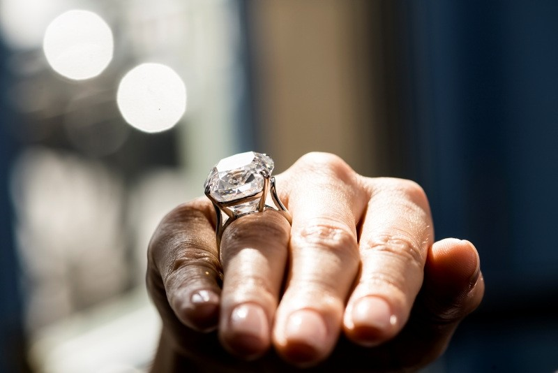 A model displays the D-Color Diamond Ring of 50.47 carats by Harry Winston during a Christie's press preview in Geneva, Switzerland (EPA Photo)