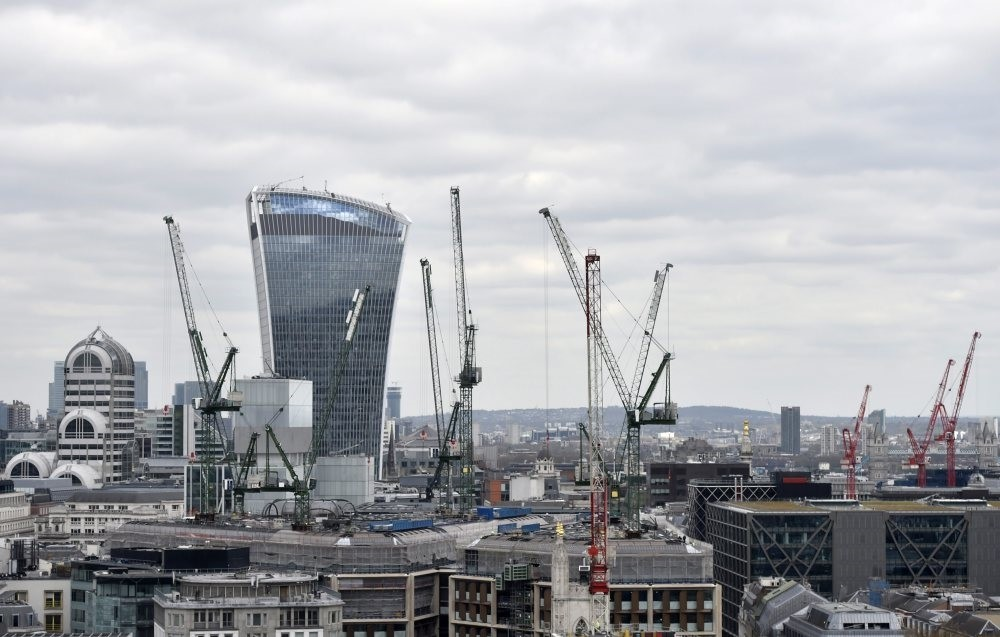 Construction in the financial district of London, Britain, April 18, 2016.