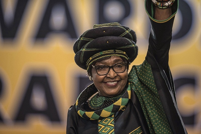 In this file photo taken on December 16, 2017 The former wife of the late South African President Nelson Mandela, Winnie Mandela waves as she attends the 54th ANC National Conference at the NASREC Expo Center in Johannesburg. (AFP Photo)