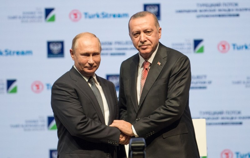 President Recep Tayyip Erdou011fan and his Russian counterpart Vladimir Putin attend a ceremony to mark the completion of the sea part of the TurkStream gas pipeline, in Istanbul, Turkey November 19, 2018. (AFP Photo)