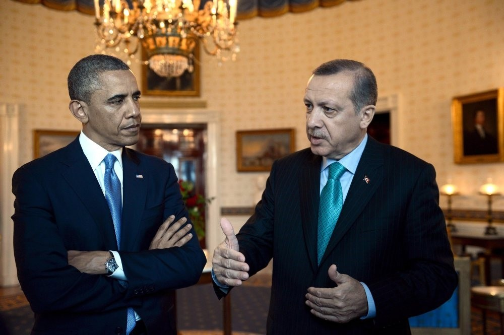 Then Prime Minister Recep Tayyip Erdou011fan and former U.S. President Barack Obama discussing the Syrian civil war and fight against terrorist groups in the Middle East at the White House, May 17, 2013.