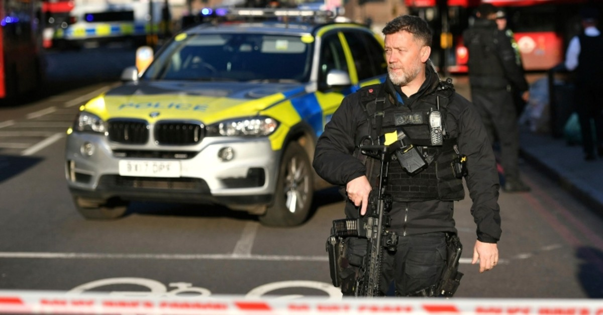 Police at the scene of an incident on London Bridge in central London following a police incident, Friday, Nov. 29, 2019. (AP Photo)