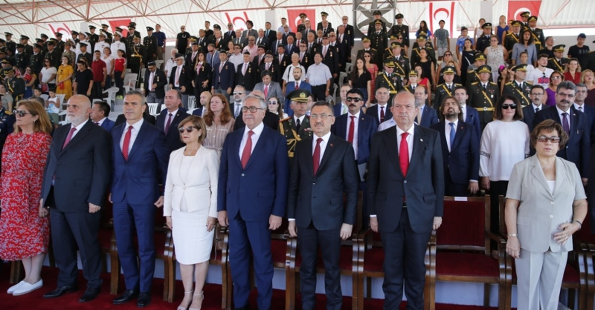 Officials attend the ceremony marking the 45th anniversary of the peace operation in Northern Cyprus on Saturday July 20, 2019 (AA Photo)