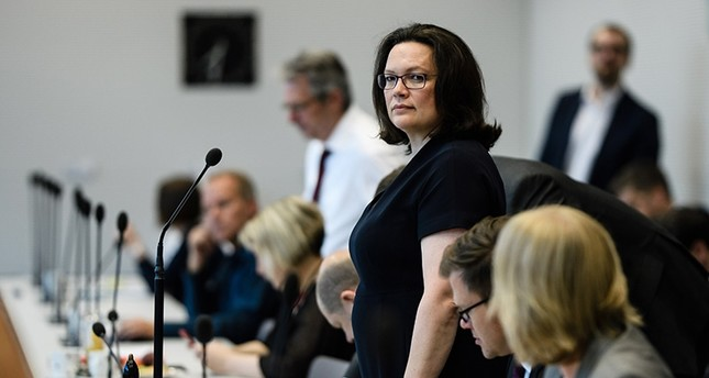The leader of the Social Democratic Party (SPD) and Chairwoman of the SPD faction Andrea Nahles looks on during the beginning of a faction meeting in Berlin, Germany, July 4, 2018. (EPA Photo)