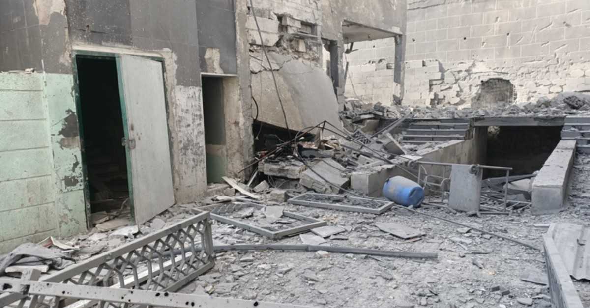 A hospital destroyed after bombardments by Assad regime and Russia (AA Photo)