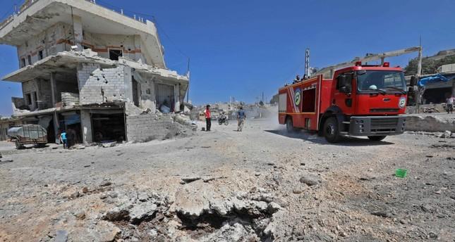 من قصف النظام السوري على مدينة إدلب (أرشيفية)