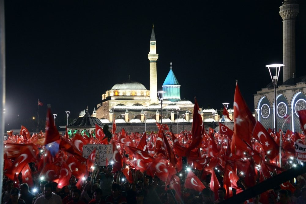 People gather around Adana Mosque as a part of democracy watch after the failed coup attempt orchestrated by the Gu00fclenist Terror Group (FETu00d6). Turkish people gathered in public squared and mosque courtyards to show their support for democracy.