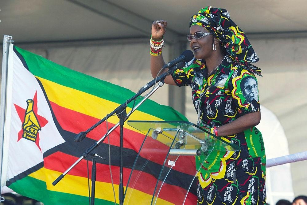 Zimbabwean first lady Grace Mugabe addresses party supporters at a rally in Gweru, Zimbabwe. (AP Photo)