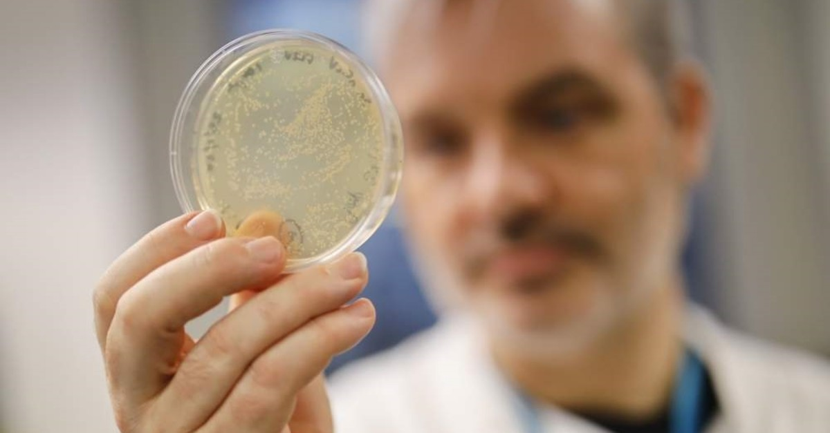 A doctor working on a vaccine for the Covid-19 strain of the coronavirus poses for a photograph with bacteria containing the coronavirus's DNA at the Imperial College School of Medicine (ICSM), London, Feb. 10, 2020. (AFP Photo)