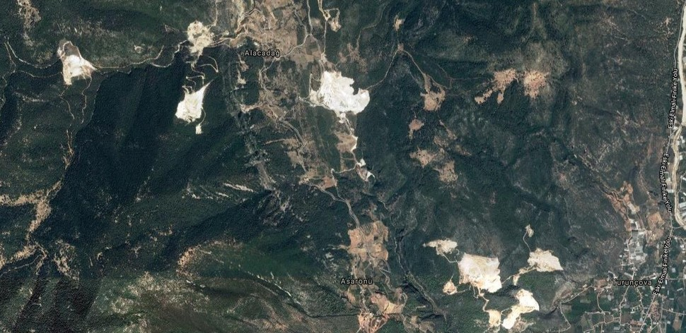 This image from Google Maps shows the extent of damage to forests by stone quarries near the Alacadağ village in Finike, Antalya