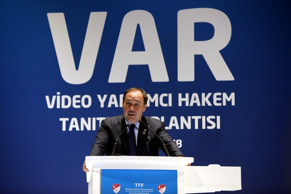 Turkish Football Federation President Yu0131ldu0131ru0131m Demiru00f6ren speaks during the introducing of the video assistant referee system for the 2018-2019 Super League  in a meeting, held in Istanbul, on Aug. 1.
