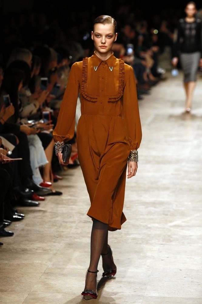 A model wears a creation by Italian fashion designer Alessandro Dell'Acqua in Paris.