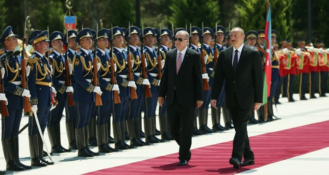 President Recep Tayyip Erdoğan with his Azerbaijani counterpart, President Ilham Aliyev in Baku, July 11.