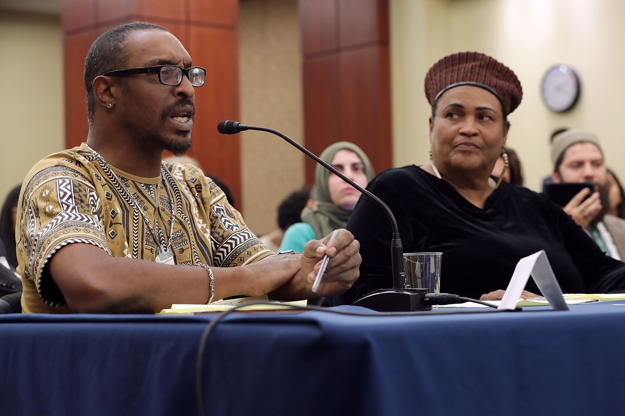 Muhammad Ali Jr and his mother Khalilah Camacho-Ali participate in a forum titled 'Ali v. Trump. (AFP Photo)