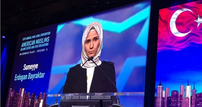President Recep Tayyip Erdoğan's daughter, the Vice Chair of the Women and Democracy Association (KADEM) Sümeyye Erdoğan Bayraktar speaks in the 15th Annual MAS-ICNA Convention, Chicago, Dec. 26, 2016.
