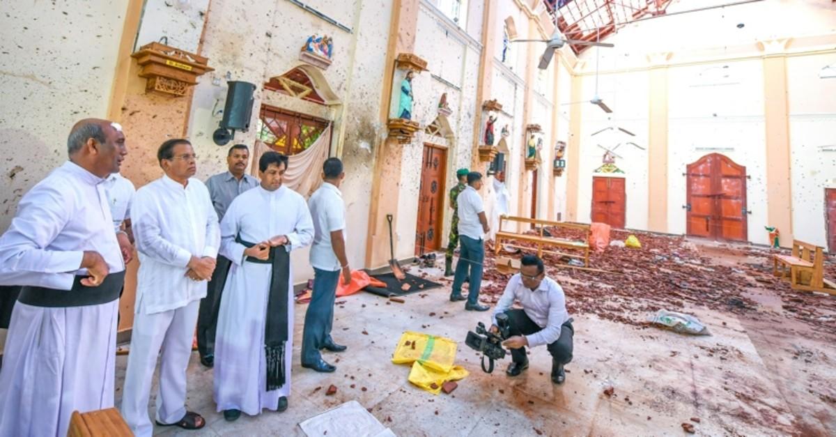 Sri Lankan President Maithripala Sirisena visits a church in the capital Colombo that was bombed on Easter Sunday. (AA Photo)