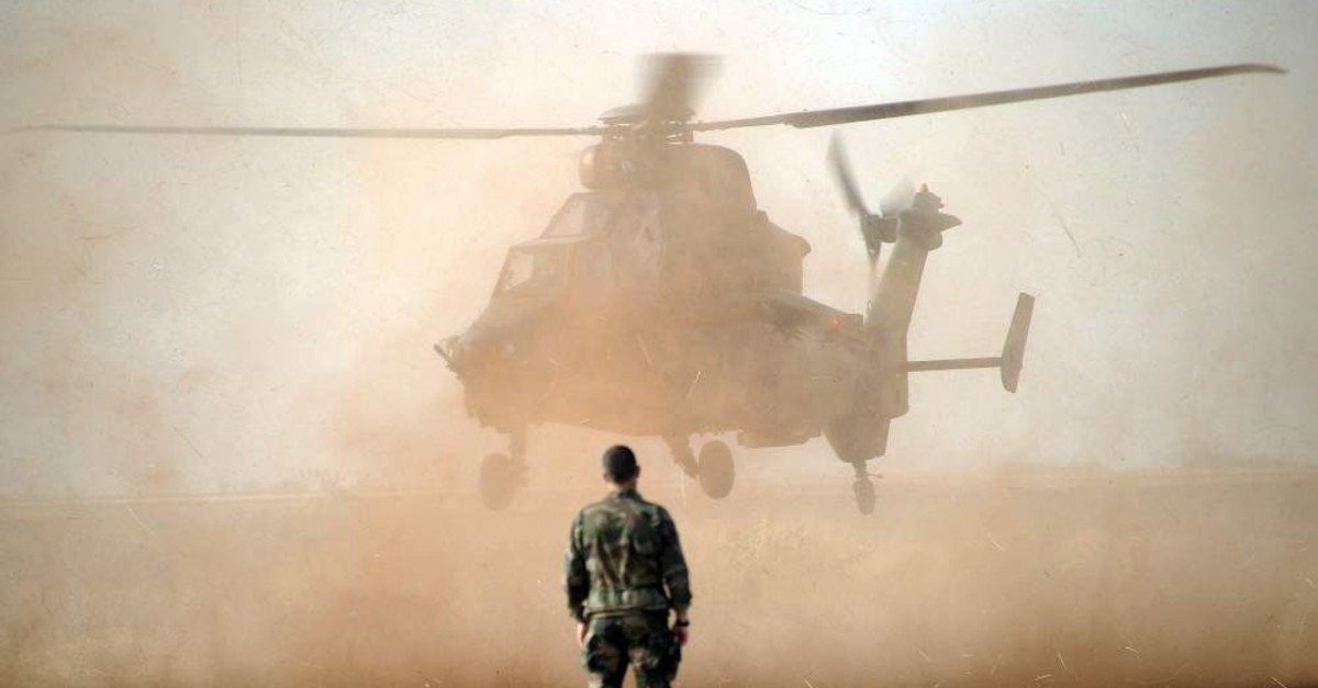 This Feb. 02, 2013 file photo shows a Eurocopter Tiger helicopter landing at the Mopti airport in Sevare, Mali. (AFP Photo)