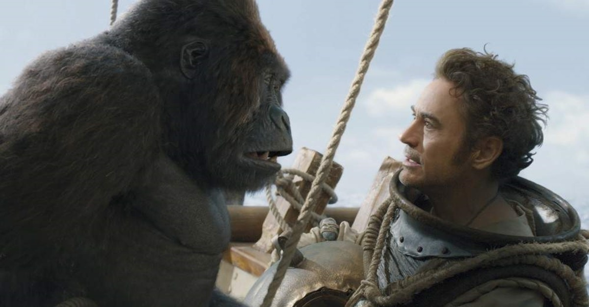 This image released by Universal Pictures shows Chee-Chee, voiced by Rami Malek, left, and Dr. John Dolittle, portrayed by Robert Downey Jr. in a scene from ,Dolittle., (AP Photo)
