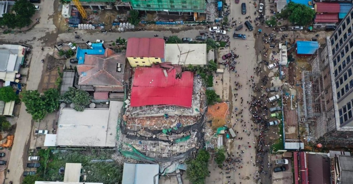 This aerial photo taken on June 22, 2019 shows a collapsed building at a construction site in Sihanoukville. (AFP Photo)