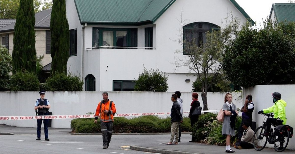 Police cordon off the area in front of the Masjid al Noor mosque after a mass shooting incident in Christchurch, March 15, 2019.