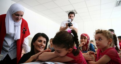 pThe U.S. ambassador to the United Nations, Nikki Haley, praised Turkish-U.N. cooperation on the Syrian refugee crisis on Tuesday, particularly education and healthcare services, during her meeting...