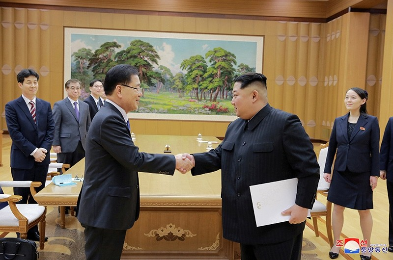 North Korean leader Kim Jong Un shakes hands with Chung Eui-yong who is leading a special delegation of South Korea's President, in this photo released by North Korea's Korean Central News Agency (KCNA) (Reuters Photo)