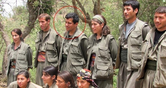 PKK-linked People's Protection Units (YPG) terrorist leader Ferhad Abdi Şahin, also known as Mazloum Kobani seen in this photo among terrorist members. (IHA Photo)
