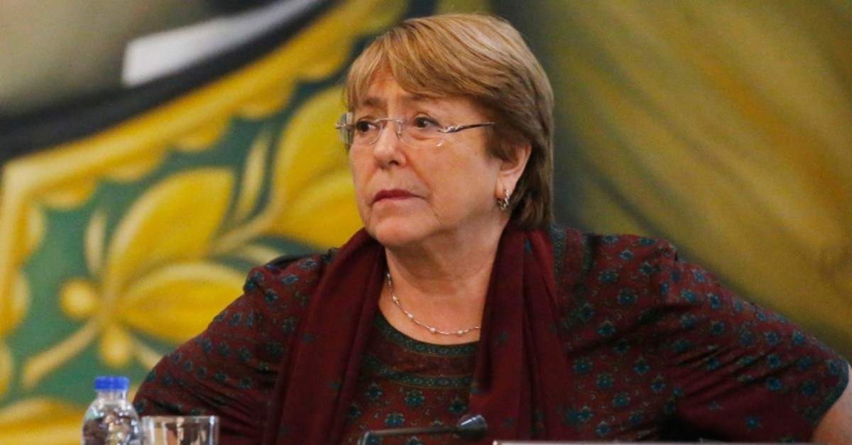 U.N. High Commissioner for Human Rights Michelle Bachelet holds a meeting with the cabinet of Venezuelan President Nicolas Maduro at the Foreign Ministry, in Caracas, Venezuela, Thursday, June 20, 2019. (AP Photo)