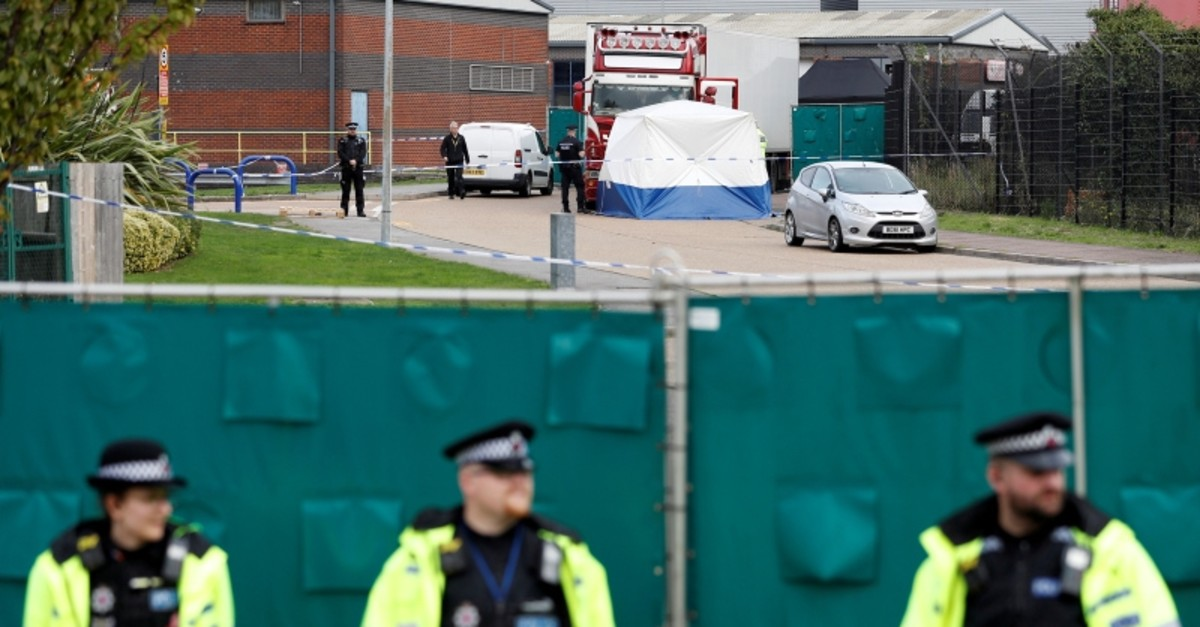 Police is seen at the scene where bodies were discovered in a lorry container, in Grays, Essex, the U.K., Oct. 23, 2019. (Reuters Photo)